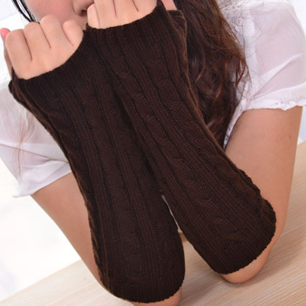 New Style Autumn Winter Warm Cross Knitted Half Finger Gloves High-grade Long Mitts