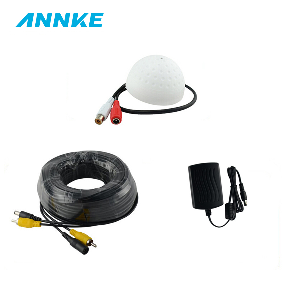 ANNKE CCTV High Sensitive Microphone Security Camera RCA Audio Mic 12V DC Power 18m Cable For Home Security DVR System redeagle audio monitor cctv mic microphone rca output for home security camera dvr system