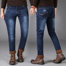 2019 Newly blue Color Smart Casual Winter Jeans For Men Fashion Simple Velvet Warm Jeans Men Thick Fleece Pants Plush Trousers