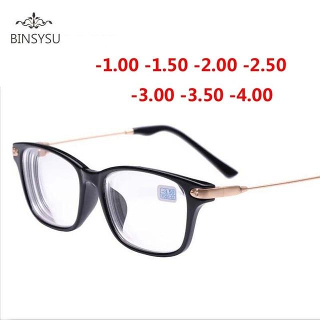 Acabados óculos de miopia armação de metal ouro preto pernas Transparente  lente míope óculos de grau f68dd17c8b