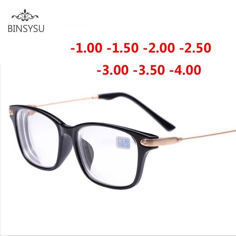 Kacamata miopia selesai, Bingkai hitam, Logam kaki emas lensa transparan, Terlihat kacamata resep, - -1 - 1.5 - 2.5 - 2.5 - 3.5 - 3.5