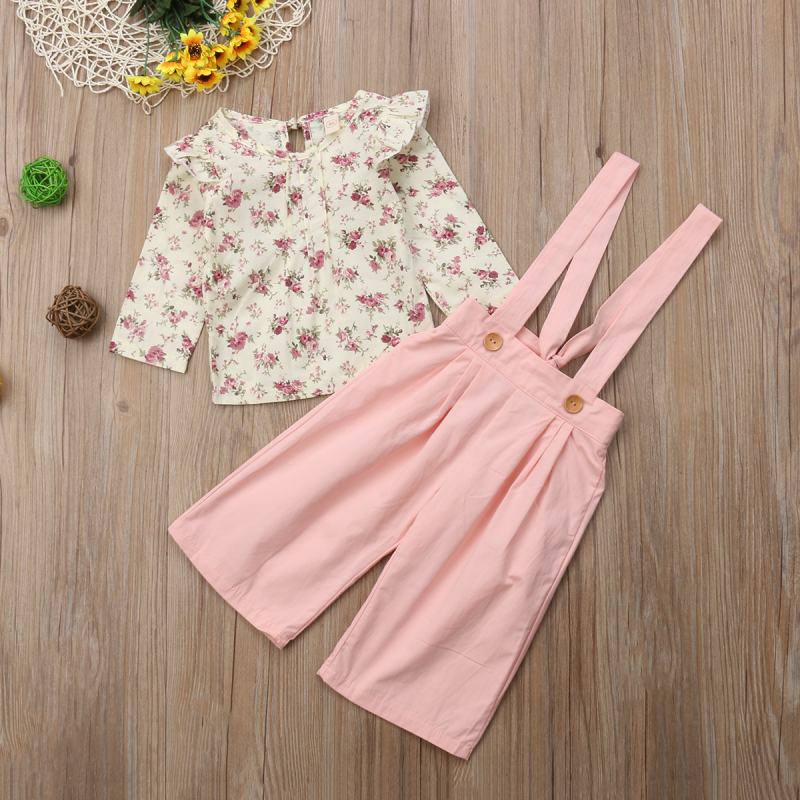 2PCS Toddler Kids Baby Girl Winter Clothes Floral Tops+Pants Overall Outfits sweet girl clothes set 8