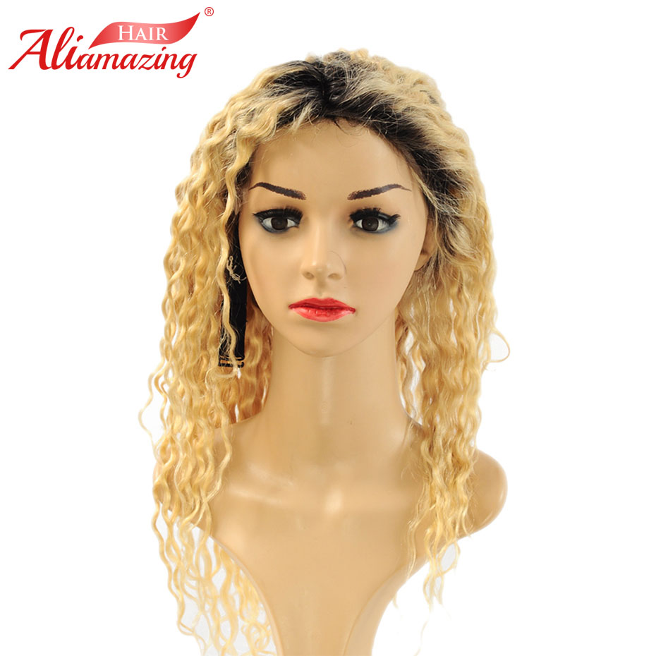 Ali Amazing Hair Brazilian Glueless Lace Front Wigs #1B/613 Ombre Blonde Kinky Curly Remy Human Hair Wigs With Baby Hair image
