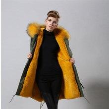 Новое поступление; модная зимняя куртка-парка с искусственным мехом желтого цвета