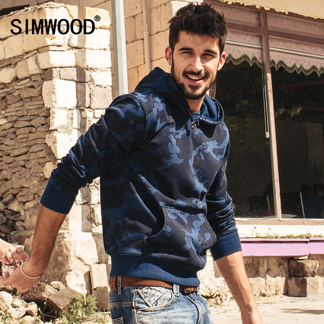 SIMWOOD new autumn winter men long sleeve hoodies fashion camouflage casual sweatshirts men sportswear clothing WY8009
