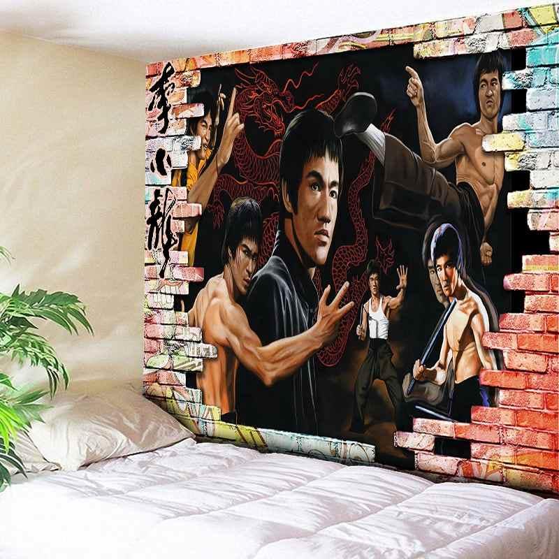 ブルース · リー装飾タペストリー壁カーペットアート家の装飾ヒッピービッグ毛布写真の背景の布自由奔放に生きる生地