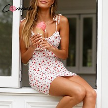 Conmoto Casual Floral Print Short Dress Women 2019 Summer Holiday Sexy Beach Chiffon Dress Dress Femme Lace Up Dress Vestidos(China)