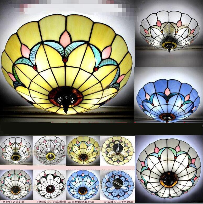 Tiffany ceiling lamps Mediterranean style simple Baroque ceiling decoration bedroom LED corridor balcony cloakroom A1 DF24 vemma acrylic minimalist modern led ceiling lamps kitchen bathroom bedroom balcony corridor lamp lighting study