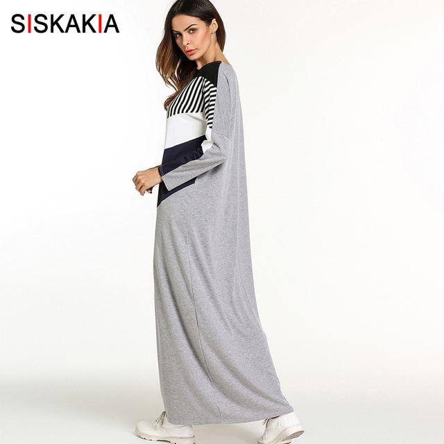 Siskakia fashion Color Block maxi long dress women Urban Casual T shirt dresses round neck Long sleeve stripes patchwork Design