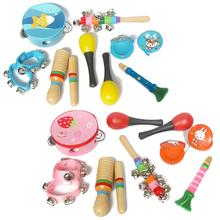 7pcs Wooden Infant Early Educational Toy Drum Rattles Percussion Instrument Set Baby Boy Girl Rattle Against Music Sets