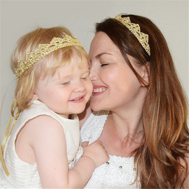 b5929986ed4 Bebe Gold Crown Headbands For Women Girl Mom and Me Hair Bands 2018 New  Mother Kids Matching Photography Props Hair Accessories
