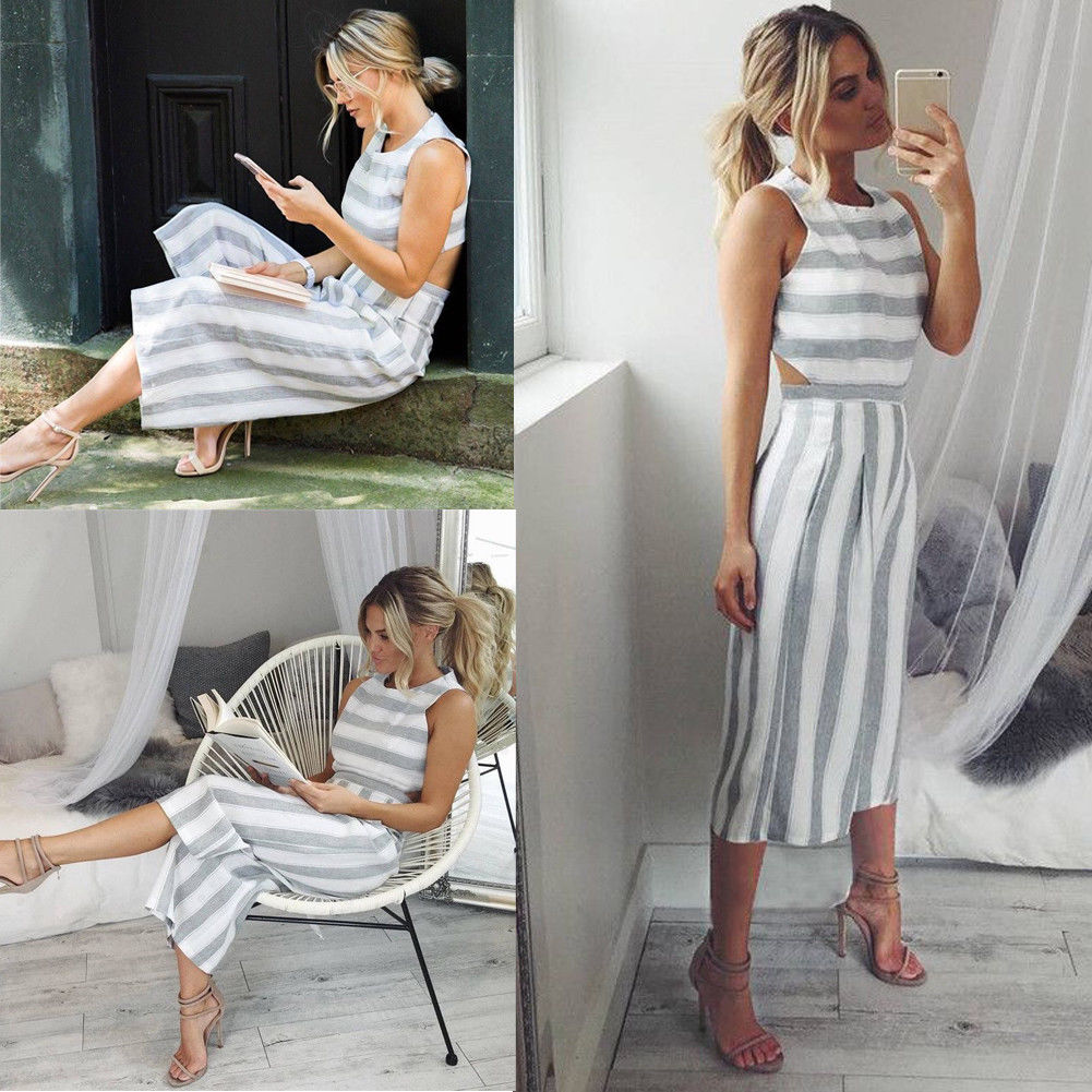 Summer New Women Grey Striped Jumpsuit Party Lady Fashion Casual Sleeveless Wide Leg Loose Playsuit Romper Long Trousers Pants