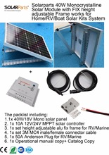 Solarparts 1x 40W Mono Solar Module height Adjustable fix frame solar cell factory cheap selling 12V solar panel RV/Marine/Boat