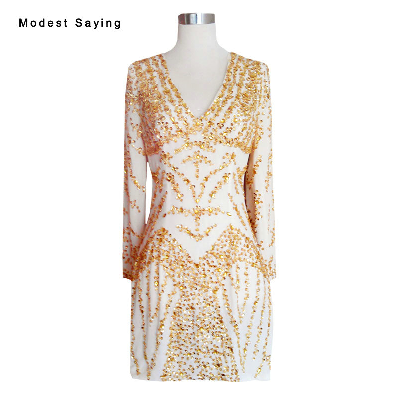 Gold and Champagne Straight V Neck Beaded Long Sleeve Short Cocktail Dresses 2017 Mini Party Prom Gowns robe de cocktail YC25