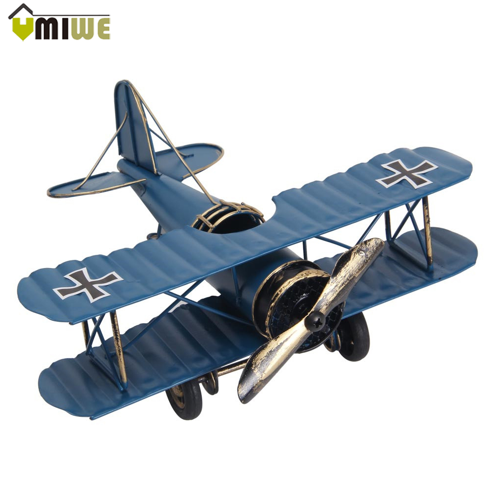 Creative Home Ornaments Miniature Models Retro Biplane Model Metal Aircraft Models Blue Red Airplane Model Toys For Children