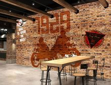 classic wallpaper for walls customized wallpaper for walls Brick wall graffiti motorcycle Bar KTV photo wall murals wallpaper(China)