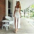 2017 playa de verano informal correa larga vestido de tirantes vestidos de white lace dress maxi mujeres correa de espagueti de las mujeres ropa de playa de baño dress