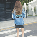 2017 Hot Sale Light Blue Letter Patch Ripped Pockets Denim Coat Women Casual Summer Style New Fashion Wear