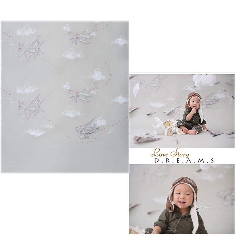MEHOFOTO Vinyl Photo Backdrops Plane New Fabric Flannel Photography Background Wallpaper For Children photo studio CM6736 mehofoto 8x12ft vinyl photography background christmas theme backdrops light for children snow for photo studio st 328