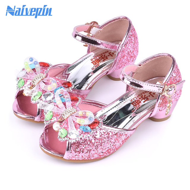 Pink Blue Gold High Heels Shoes Girls Sandals children Fashion PU Leather  Elsa Princess Butterfly Design shoes Girls Sandals 8baad8ee32b2