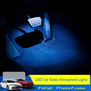 Image 2 - QHCP LED רכב אורות אווירת סוליות הסביבה מצב רוח מנורת פנים דקורטיבי רגל אור Fit עבור טויוטה קאמרי 2018 אביזרי רכב