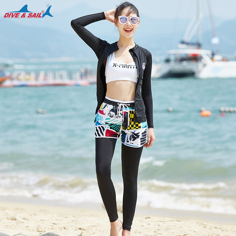 DIVE&SAIL Women Men Rash Guards Set 3-4 Pieces Long Sleeve Swimming Surfing Rash Guard Top Leggings Anti-UV Swimwear For Women цена