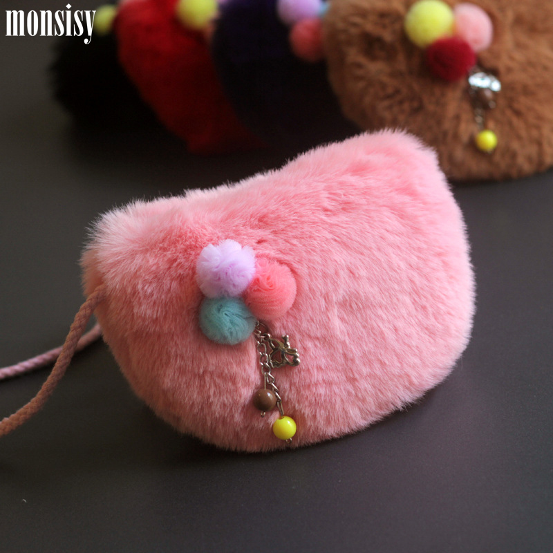Monsisy Faux Fur Ball Girl Coin Purse Children's Wallet Small Change Purse Kid Bag Coin Pouch Money Holder Animal Kid Handbag fggs hot chinese silk embroidery wallet change coin bag handbag small purse pouch random