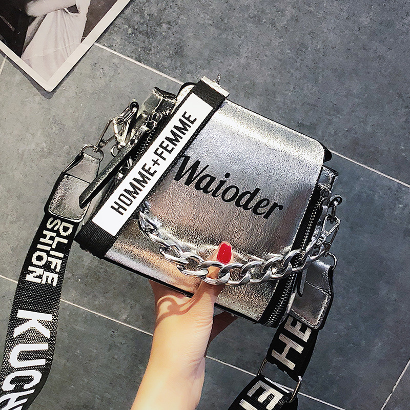 ETAILL Barrel Shaped PU Leather Design Crossbody Bag With Thick Chain Stripe Letter Wide Strap Shoulder Bag Small Bucket Bag armband for iphone 6