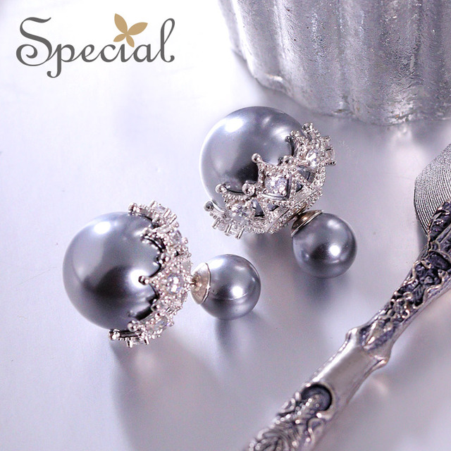 Special Новая Мода Стерлингового Серебра 925 Серьги Shell Бусины Двухстороннее Серьги Прекрасный Ювелирные Изделия Подарки для Женщин S1655E