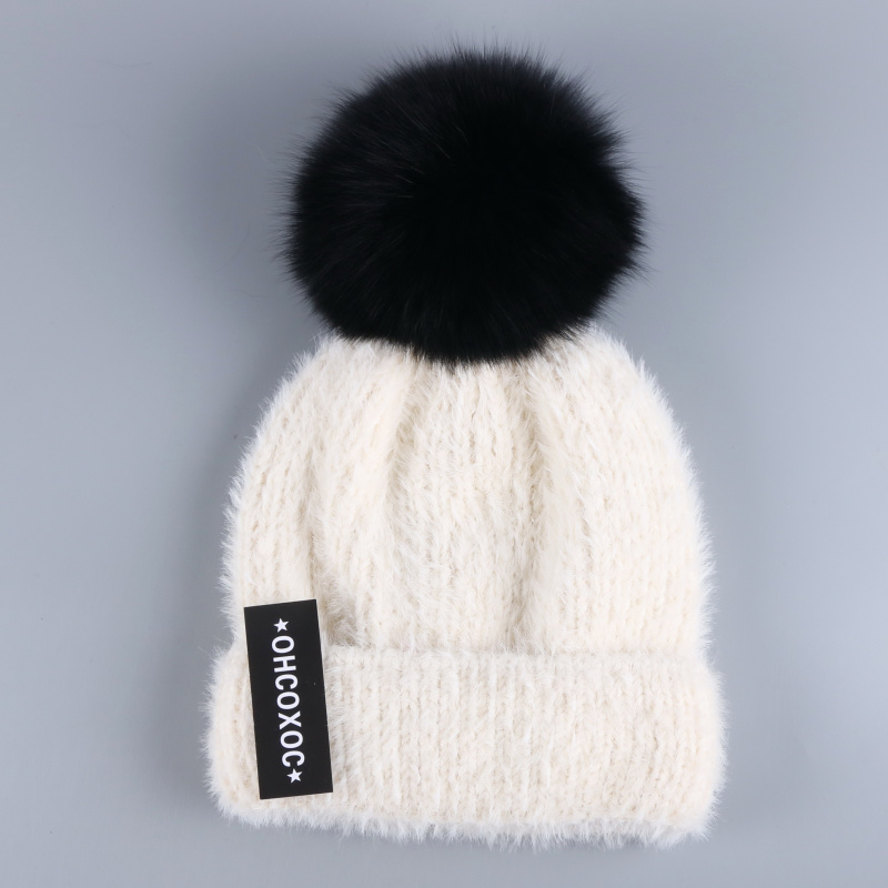 05a556bb8 OHCOXOC New Women Beanies Real Fox Fur Pom Poms Ball Cap Keep Warm Beanies  Skullies Solid Gray Stripe Autumn Winter Hat -in Skullies & Beanies from ...