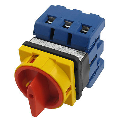 AC 600V 63A 6 Terminals 2 Positions On-Off Rotary Cam Changeover Switch