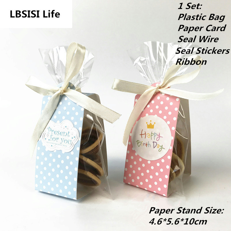 LBSISI Life 20Sets Cookie Candy Bread Plastic Packing Bags Boxes Pink Blue Dot Clear Party Gift Chocolate Wedding Self Stand Bag
