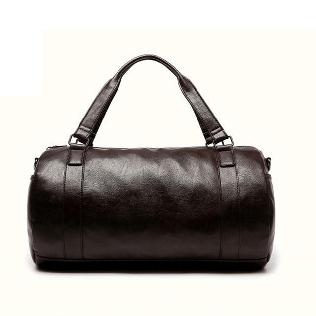 cf61483af36a Large Capacity Men s Sport Bag Waterproof PU Leather Round Duffel Shoulder Bag  Handbag Travel Bag Gym