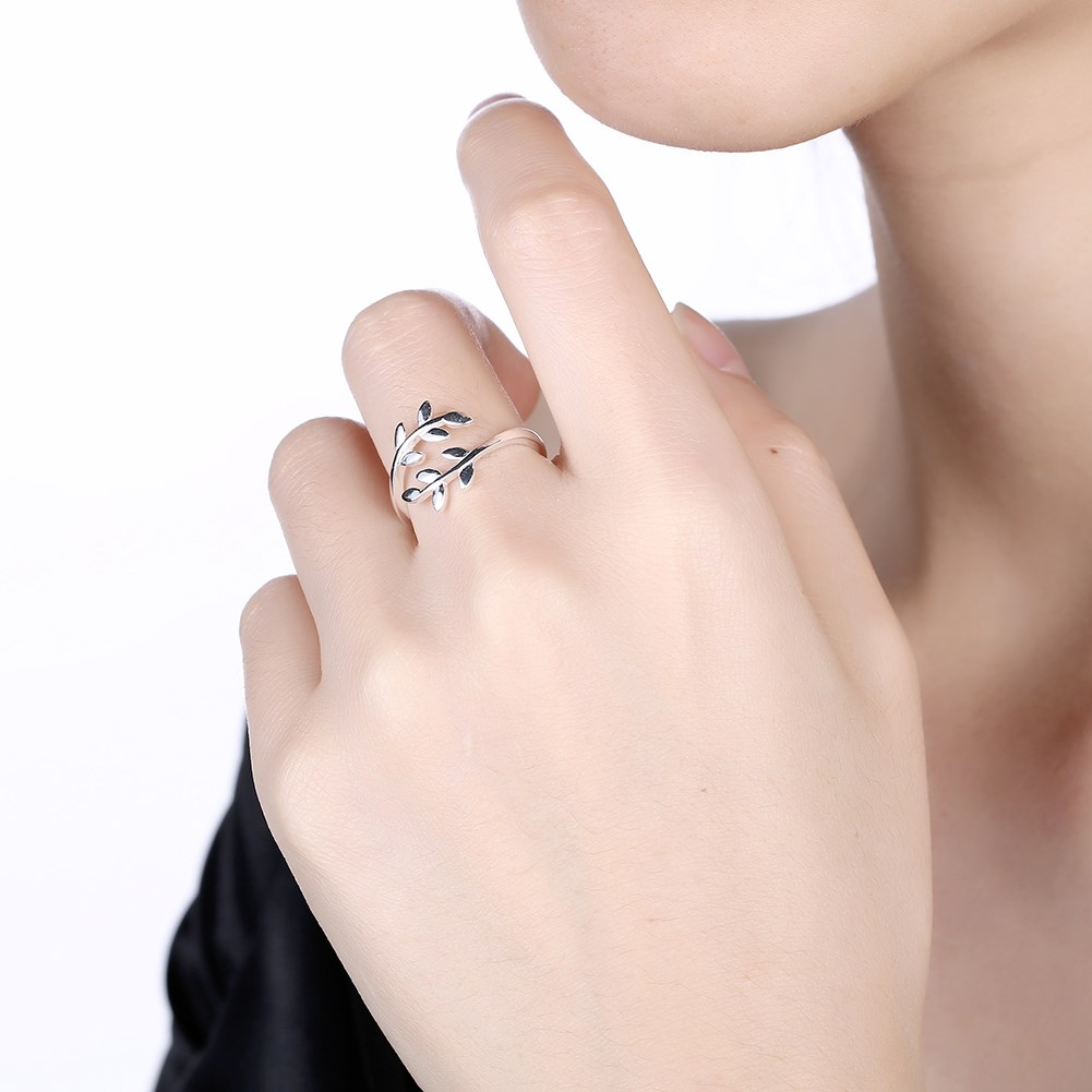 925 Sterling Silver Ring Female Elegant Romantic Green Olive Branch ...