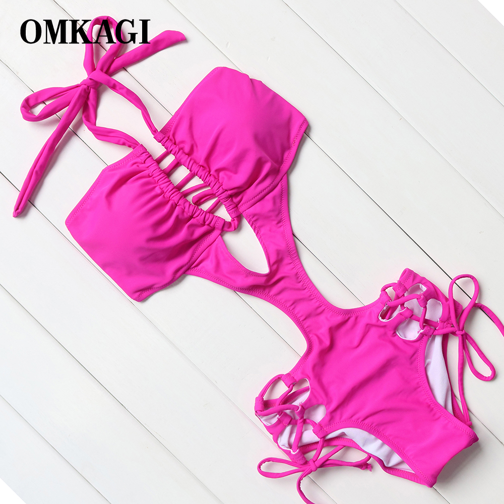 OMKAGI Sexy Solid Rose Pink & Red One Piece Swimsuits Adjustable Bandage Monokini