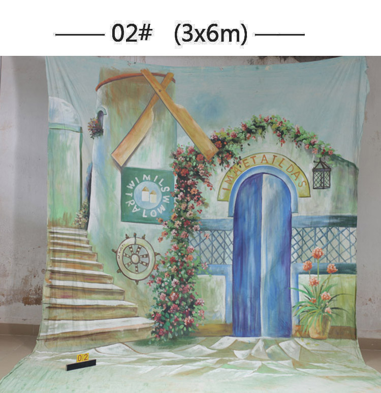 10x20ft Hand painted Studio Shooting Muslin Photography Background 02, flower house Fabric  backdrops,camera wedding photography 10x20ft hand painted studio shooting muslin photography background 067 vintage fabric backdrops camera wedding photography