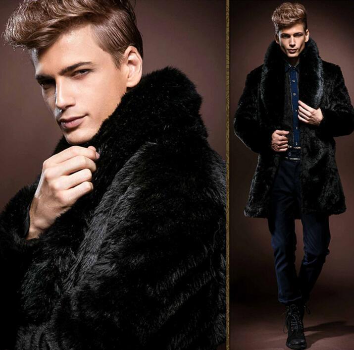 Winter mens faux rabbit hair fur coats thicken warm overcoat mens leather coats thermal masculino motoqueiro chaqueta hombre
