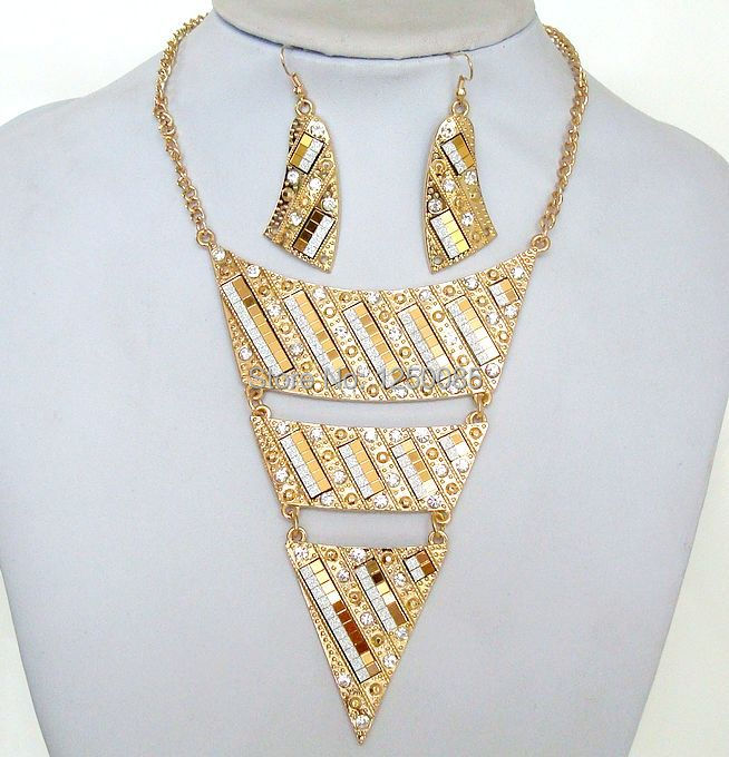 Hotsale Jewelry Sets Fashion Luxury 3 Layer Gold Statement Necklace Women's Crystal Rhinestone Chain Necklace