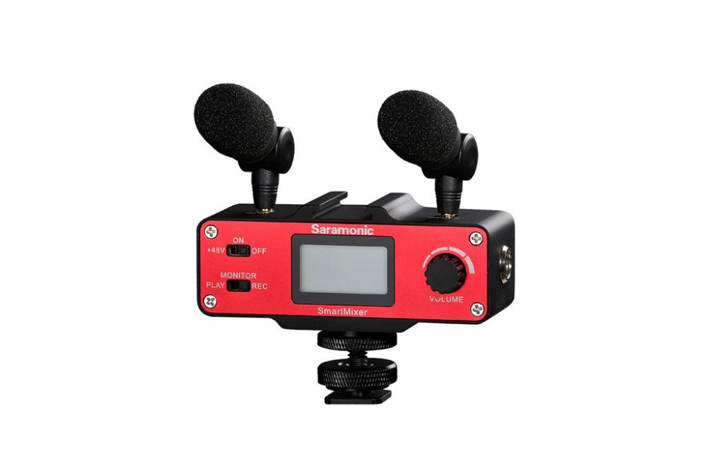 Saramonic SmartMixer Smartphone Video Film microphone Handheld Recording Stereo Microphone Rig for iPhone Samsung Android 8