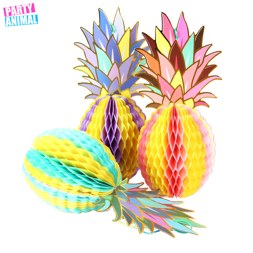 Summer Party Decoration 3pc/set Glitter Gold Honeycomb Pineapple Table Centerpiece Beach Pool Luau Tropical Birthday Wedding