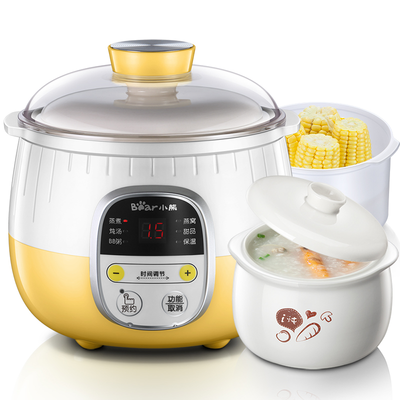220V Bear Automatic Electric Stewing Cooker Mini Electric Cooking Pot Machine 0.8L Stewing Pot 1L Steamer EU/AU/UK Plug 220v household electric slow stewing pot machine baby porridge food maker automatic ceramic inner stewing cooker eu au uk
