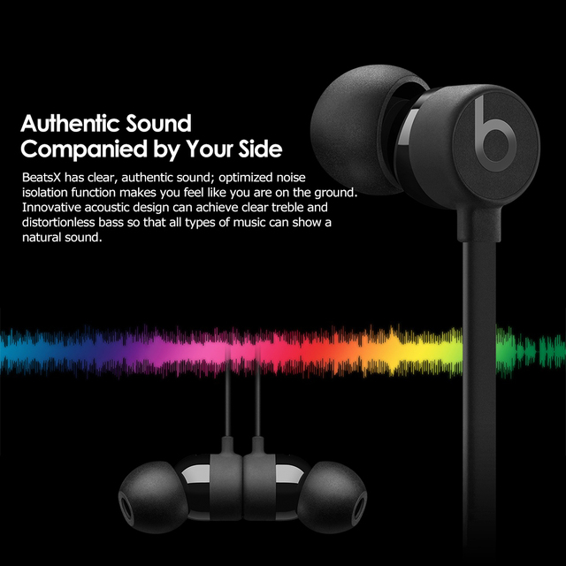 Beats BeatsX Hands-free Calls Stereo Music Headset Rechargeable In-line Control Wireless Bluetooth In-ear Earphones w/Mic
