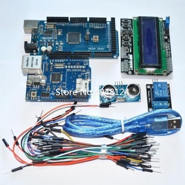 Ücretsiz kargo Mega 2560 r3 arduino için kiti + HC SR04 + breadboard kablosu + röle modülü + W5100 UNO kalkanı + LCD 1602 tuş takımı