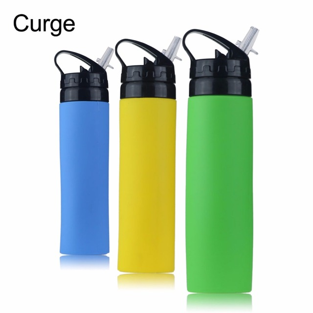 CURGE 650ML Portable Foldable Silicone Water Bottle For Travel Outdoor Sport Camping Hiking BPA free Green,Yellow,Blue #1116