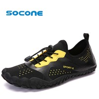 Socone Men Water Shoes Lightweight Yoga Exercise Outdoor Sport Sneakers Lace up Beach Walking Shoes Aqua Shoes Plus Size 35 47