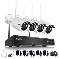 SANNCE 4CH Wireless NVR CCTV System 720P IP Camera WIFI Waterproof IR Night Vison Home Security Camera Surveillance Kit  NO HDD