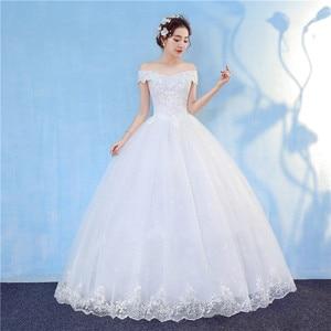 Image 2 - Nova chegada 2020 frete grátis vintage elegante rendas branco vestidos de casamento barco pescoço plus size vestido de baile robe de barato