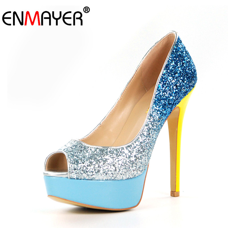 ENMAYER Glitter Bling Platform Peep Toe Extreme High Heels Pumps for Women Mix Colors Party Night Club Slip-On Plus Size 35-46 peep inside night time