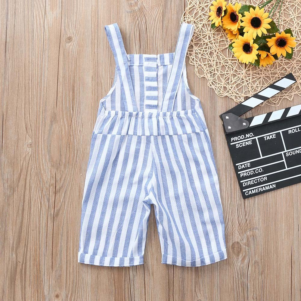 Childrens Sleeveless Halter Striped Jumpsuit Jumper Baby Girls Sleeveless Backless Striped Overall Pants Outfit Y-NEW
