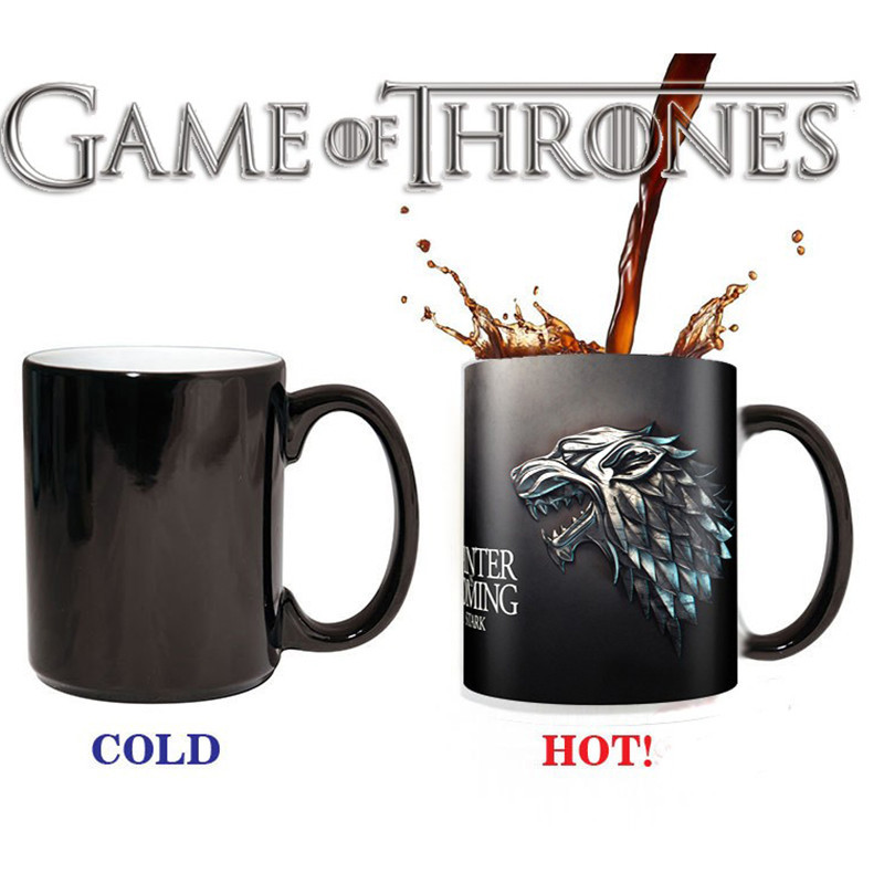 House of Stark Heat Reveal Mug Color Change Flip Off Coffee Cup Heat-Sensitive Ceramic Morphing Mugs Temperature Sensing Gift